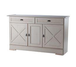 Buffet 3 portes 2 tiroirs olivia 410 ch ne blanchi for Ikea buffet salle a manger