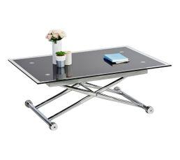 Syst me monte et baisse plateau sup rieur verre tremp paisseur 10 mm pi - Table basse up and down conforama ...
