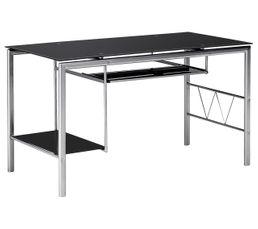 Bureau en verre noir but spécial bureau verre et metal but noir