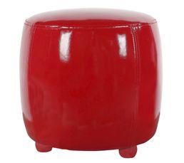 Poufs & Poires - Pouf Diam. 31 - L. 32 cm GLOSSY Rouge