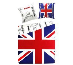 Linge De Lit - Housse de couette 240x220 + 2 Taies d'oreiller 65x65 BRITISH imprimé