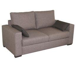 Canap�s - Canapé fixe 2 places 1/2 JULIA, tissu polyester, coloris gris/noir