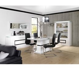 Buffet 2 portes 3 tiroirs riva blanc noir buffets but for Salon sejour complet pas cher
