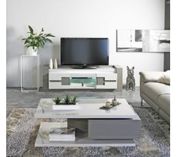 Meuble tv rimini taupe gris meubles tv but for Meuble tv gris