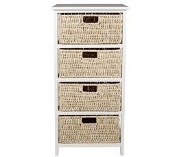 Rangement 4 tiroirs natura 2 blanc petits meubles but for Petit meuble blanc a tiroir