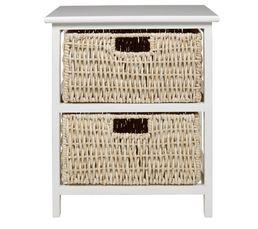 Chevet 2 tiroirs natura 2 blanc petits meubles but for Petit meuble tiroir blanc