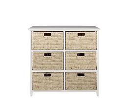 Rangement 6 tiroirs natura 2 blanc petits meubles but for Petit meuble a tiroirs blanc