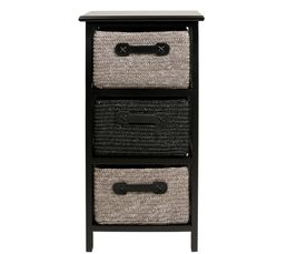 tour 3 tiroirs manao noir gris petits meubles but. Black Bedroom Furniture Sets. Home Design Ideas