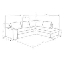 Canapé d'angle méridien.gauche DODGE Tissus Gris/Aubergine