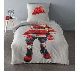 Taille linge de lit enfant linge de lit parure de lit - Housse de couette pompier ...