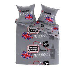 Linge De Lit - Housse de couette 240X220 + 2 LONDON BUS Imprimé