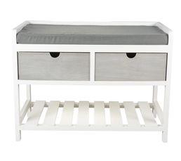 Meuble d 39 entr e banc clara blanc gris petits meubles but for Meuble d entree banc