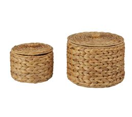 Panier - Set de 2 paniers ronds JACINTHE Naturel