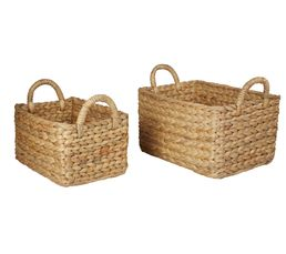 JACINTHE Set de 2 paniers rectangle Naturel