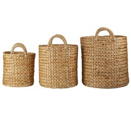 Set de 3 paniers ronds JACINTHE Naturel