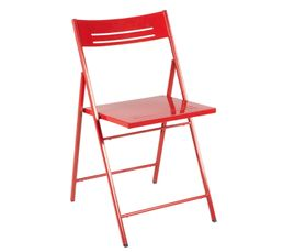 Chaises - Chaise pliante métal BETTY Rouge