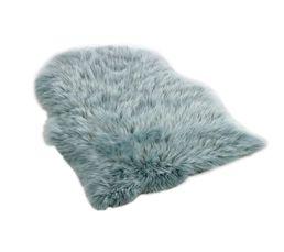 Tapis fausse fourrure 65x90 cm COPENHAGUE bleu