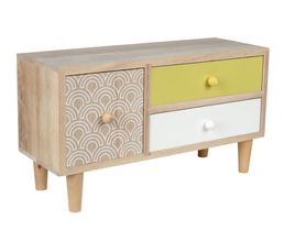 COPENHAGUE Mini commode 3T Blanc/Jaune/Naturel