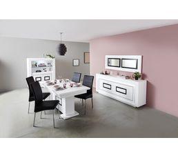But salle a manger salle a manger noire table chaise for Meuble salle À manger avec chaise bois gris