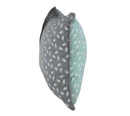 Coussin 30x50 cm MOTIF FEUILLE Gris/vert