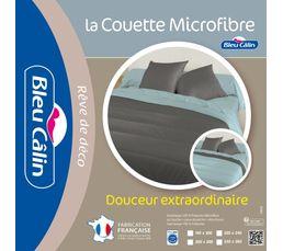 Couette microfibre bicolore Coloris gris / bleu SOMIAR 220x240 cm