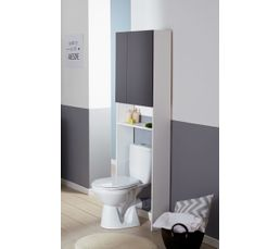 entourage wc oleron gris et blanc meuble de salle de bain but. Black Bedroom Furniture Sets. Home Design Ideas