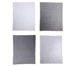 Plaid 125x150 cm POA blanc/gris