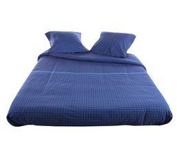 Linge De Lit - Housse de couette 240x220 + 2 LOFT bleu foncé