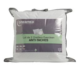 Oreiller Et Traversin - Lot de 2 oreillers 60 x 60 cm DREAMEA EVERCLEAN ANTI-TACHES