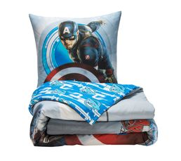 housse de couette 140x200 1 avengers captain america gris bleu linge de lit but. Black Bedroom Furniture Sets. Home Design Ideas