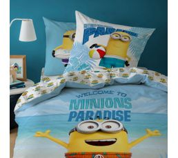 Housse de couette enfant 140X200 cm+ 1 taie d'oreiller MINIONS PARADIS