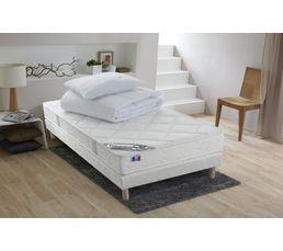 Ensemble 90X190 cm DREAMEA matelas + sommier + oreiller + couette ESTRELLA - Mousse accueil latex