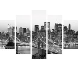 Set de 5 toiles 150x100 city bridge noir gris for Miroir 150x100