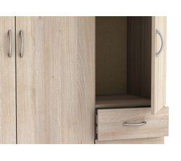Armoire 3 portes 3 tiroirs OSIRIS imitation  acacia