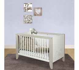 Lit B B 60 X 120 Cm Ourson Blanc Et Marron Clair Lits But