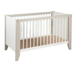 Lit bébé 60 x 120 cm OURSON Blanc et marron clair