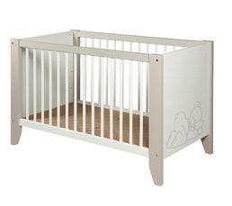 Lits - Lit bébé 60 x 120 cm OURSON Blanc et marron clair