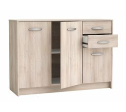 Rangement 3 portes / 2 tiroirs BOREA imitation acacia