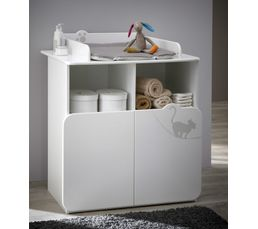 Commode table langer b b kitty blanc plan langer but - Lit de bebe avec table a langer ...