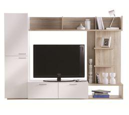 Meubles Tv - Meuble TV ARENA Blanc et Chêne brossé