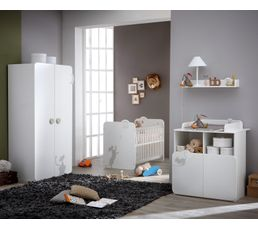 Etag re murale chambre b b kitty blanc commode et table - Commode table a langer bebe kitty blanc ...