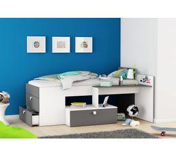 Lits - Lit combiné avec bureau Gris et blanc TOTALLY