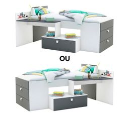lit combine bureau fille maison design. Black Bedroom Furniture Sets. Home Design Ideas