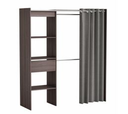 armoire dressing extensible moka ch ne fonc weng rideau gris. Black Bedroom Furniture Sets. Home Design Ideas