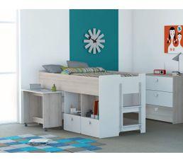 Lit combiné 90x190cm/bureau GAME imitation acacia et blanc
