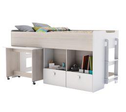 Lits - Lit combiné 90x200cm/bureau GAME imitation acacia et blanc