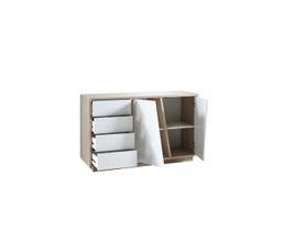 buffet 2p 4t evasion blanc et ch ne buffets but. Black Bedroom Furniture Sets. Home Design Ideas