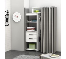 Armoire dressing extensible santiago gris et blanc - Dressing extensible avec rideau ...