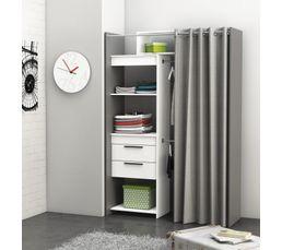 Armoire dressing extensible SANTIAGO gris et blanc