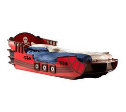 lit bateau pirate crazy shark noir et rouge. Black Bedroom Furniture Sets. Home Design Ideas
